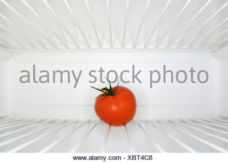 Single red tomato sitting on shelf inside refrigerator - Stock Photo