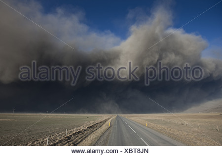 Highway One or Ring Road with Volcanic Ash Cloud from Eyjafjallajokull Volcano Eruption, Iceland. - Stock Photo