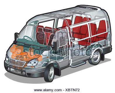 Mini van infographics cutaway - Stock Photo