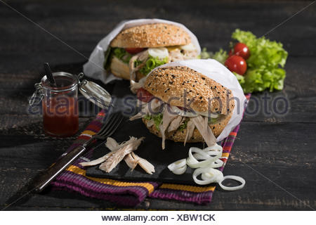 pulled chicken burger - Stock Photo