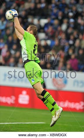 Tom Starke, goalkeeper of TSG 1899 Hoffenheim, catching ball, WIRSOL Rhein-Neckar-Arena, Hoffenheim-Sinsheim, Baden-Wuerttemberg - Stock Photo