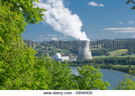 Nuclear power plant, nuclear power station, KKW, Leibstadt, energy, canton, AG, Aargau, Switzerland, Europe, - Stock Photo