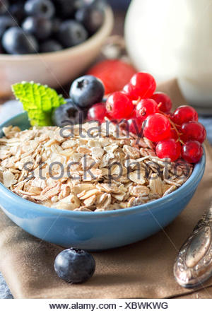 Rolled oats in a bowl with berries and milk - Stock Photo