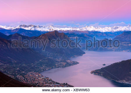 Lake Iseo, at dawn, province of Brescia, Italy - Stock Photo