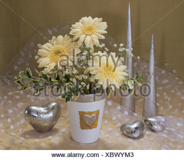 bouquet : gerbera, baby's breath and spindle - Stock Photo