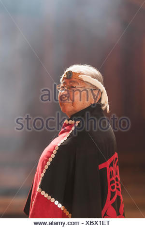First nations matriarch respected elder Evelyn Windsor effectionately known 'aunty Evelyn' dons button blanket a portrait - Stock Photo