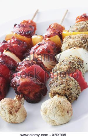 kebabs on barbecue - Stock Photo