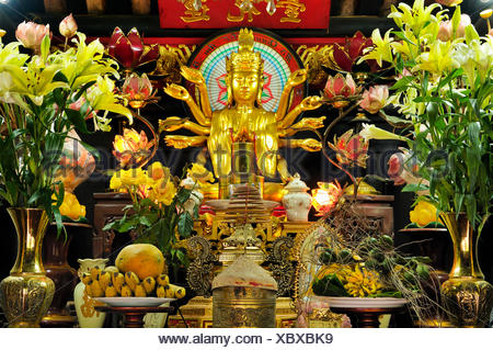 Altar inside the One Pillar Pagoda, Hanoi, Vietnam, Southeast Asia - Stock Photo