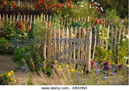 garden gate of a rural garden, Germany - Stock Photo