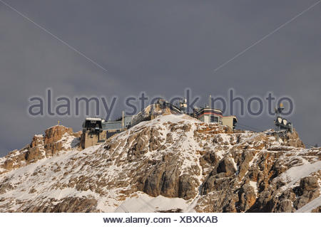 Germany, Bavaria, Werdenfels, Zugspitze (mountain), summits, top terminal, transmitters, - Stock Photo