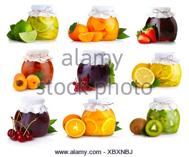 Set of glass jars with exotic fruits jam isolated - Stock Photo