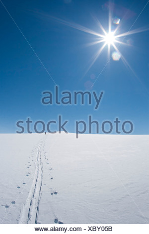 Skiers skiing to the summit of Mount Torbert, Tordrillo Mountains, Winter in Southcentral Alaska - Stock Photo