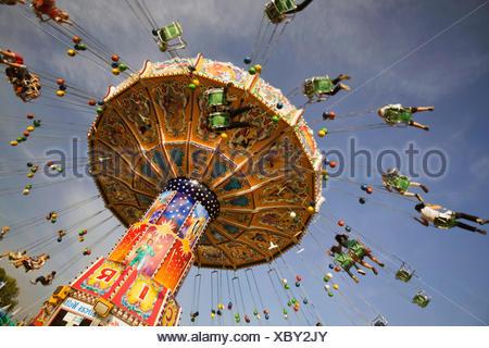 flying swing on the Oktoberfest, Germany, Bavaria, Muenchen - Stock Photo