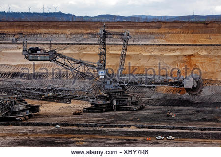 Bucket wheel excavators 282 in Inden opencast mine, lignite mining, Inden, Rhenish lignite mining area, North Rhine-Westphalia - Stock Photo