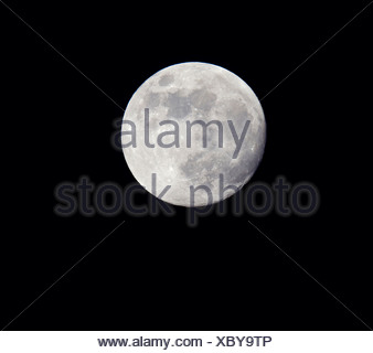 Close-up of the full moon against dark sky - Stock Photo