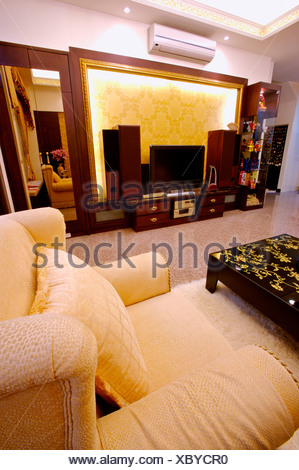 Cosy and furnished living room - Stock Photo