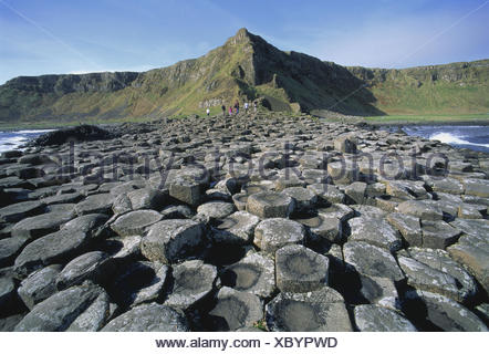 Northern Ireland, county Antrim, bile coast, Giant's Causeway, tourist Ireland, Northern Ireland, coast, basalt, basalt rock, formation, Volcanically, place of interest, nature miracle, coast, outpouring rock, volcano rock, lava rock, cliff coast paragraph, cliff coast - Stock Photo
