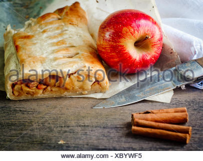 homemade strudel cake with apples and cinnamon - Stock Photo
