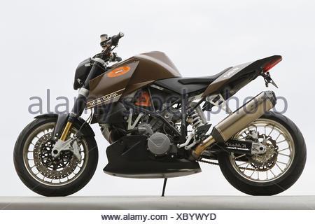 Motorcycle, KTM 990 Road Hero, right side, studio shot, - Stock Photo