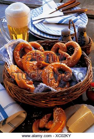Bavarian pretzels, Germany, recipe available for a fee - Stock Photo