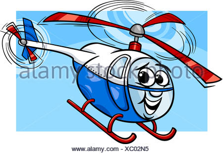 helicopter or chopper cartoon illustration - Stock Photo