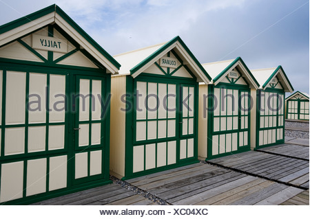 Beach huts, Cayeux-sur Mer, Ault, Picardie, France, Europe - Stock Photo