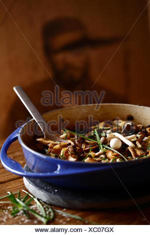 Mushroom Stew casserole on a table - Stock Photo