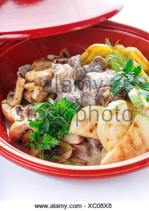 hot slices of pork with sauce vegetables on the grill zucchini, eggplant, mushrooms, potatoes, peppers, tomatoes, parsley - Stock Photo
