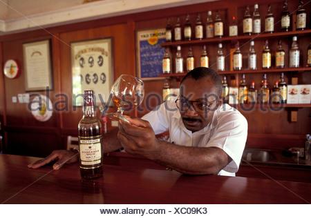 African origin alcohol bar Barbados barkeepers bottle Bridgetown degustation drinks glass glassware man - Stock Photo