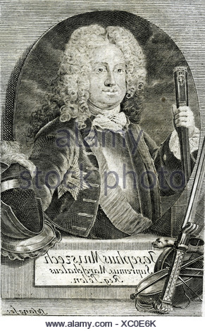 Mniszech, Josef Wandalin, 1670 - 1797, Polish politician, Great Crown Marshall 1713 - 1742, half length, engraving by Sysang, 118th century, Poland, Lithuania, minister, , Artist's Copyright has not to be cleared - Stock Photo
