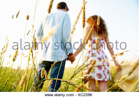 Couple holding hands in a wheat field - Stock Photo