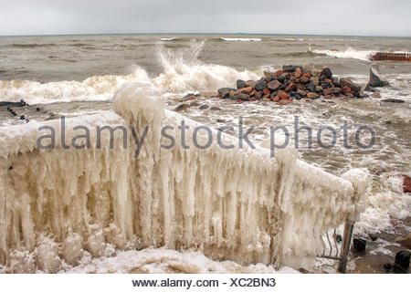 Ice covered staircase by the beach, Baltic Sea, Kaliningrad, Russian Federation - Stock Photo