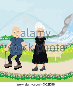 Senior couple walking in sunny day - Stock Photo
