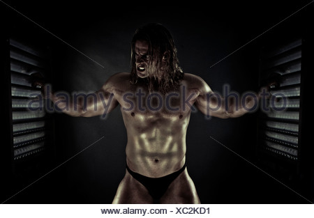Super Hero in the Cage - Stock Photo