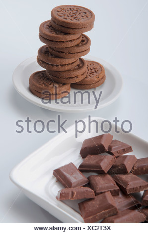 Close-up of chocolate cookies with chocolate pieces - Stock Photo