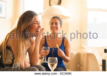 Two young woman having girls night in, drinking and laughing - Stock Photo