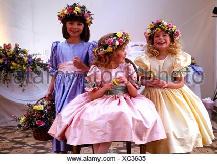 Bridesmaids at summer wedding - Stock Photo