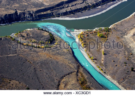 The Junction between the Chilcotin and Fraser rivers and the BC Grasslands, british columbia, canada. - Stock Photo