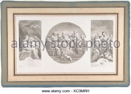 The Mystic Marriage of Saint Catherine; Saint Celestine V Renouncing the Papacy; Saint Catherine Touched by Divine Love. Artist: Nicolas Bernard - Stock Photo