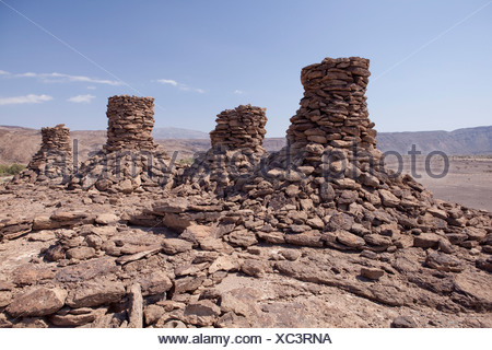 Afar, grave, Africa, stones, Ethiopia, - Stock Photo