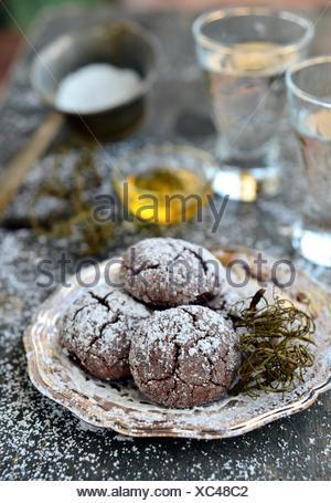 Christmas chocolate crinkle cookies - Stock Photo