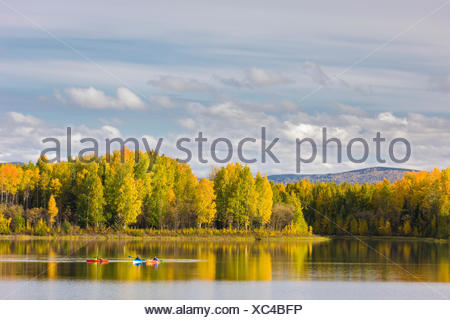 Kayakers Enjoying A Fall Day At The Chena Lakes Recreation Area, Fairbanks, Alaska, Usa - Stock Photo