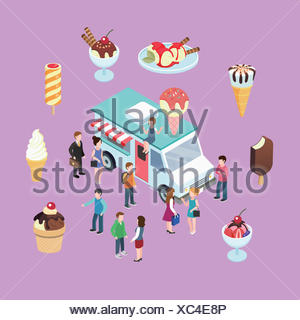 People at ice cream truck with various kinds of ice creams - Stock Photo
