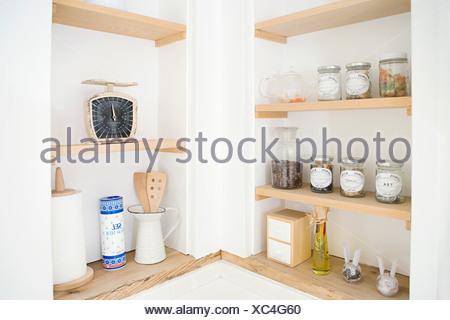 Kitchen shelves - Stock Photo