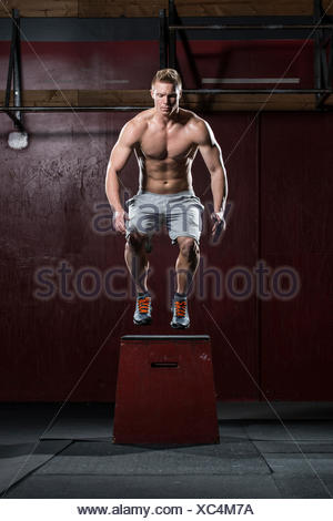 Man standing on vaulting horse - Stock Photo