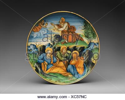 Shallow bowl with The Agony in the Garden. Artist: Baldassare Manara (Italian, Faenza, active first half 16th century) and/or associate; Date: dated - Stock Photo