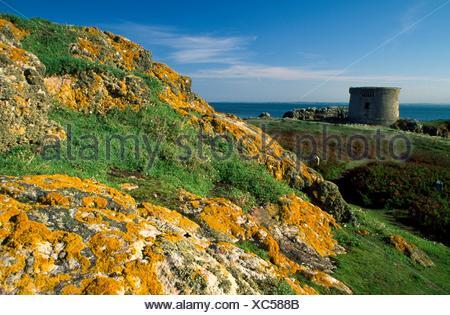 Ireland's Eye, County Dublin, Ireland; Martello Tower On Island - Stock Photo