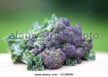 Purple sprouting broccoli on a wooden chopping board - Stock Photo