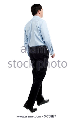 motion postponement moving movement walk go going walking isolated male masculine european caucasian business dealings deal - Stock Photo