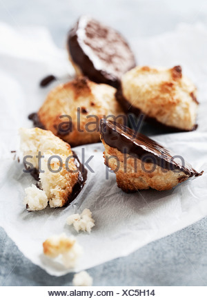 Close up of chocolate coconut cookies - Stock Photo